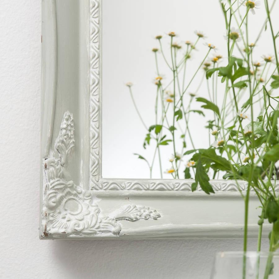 Vintage White Cream Hand Painted Mirrorhand Crafted Mirrors With Cream Vintage Mirror (View 9 of 20)