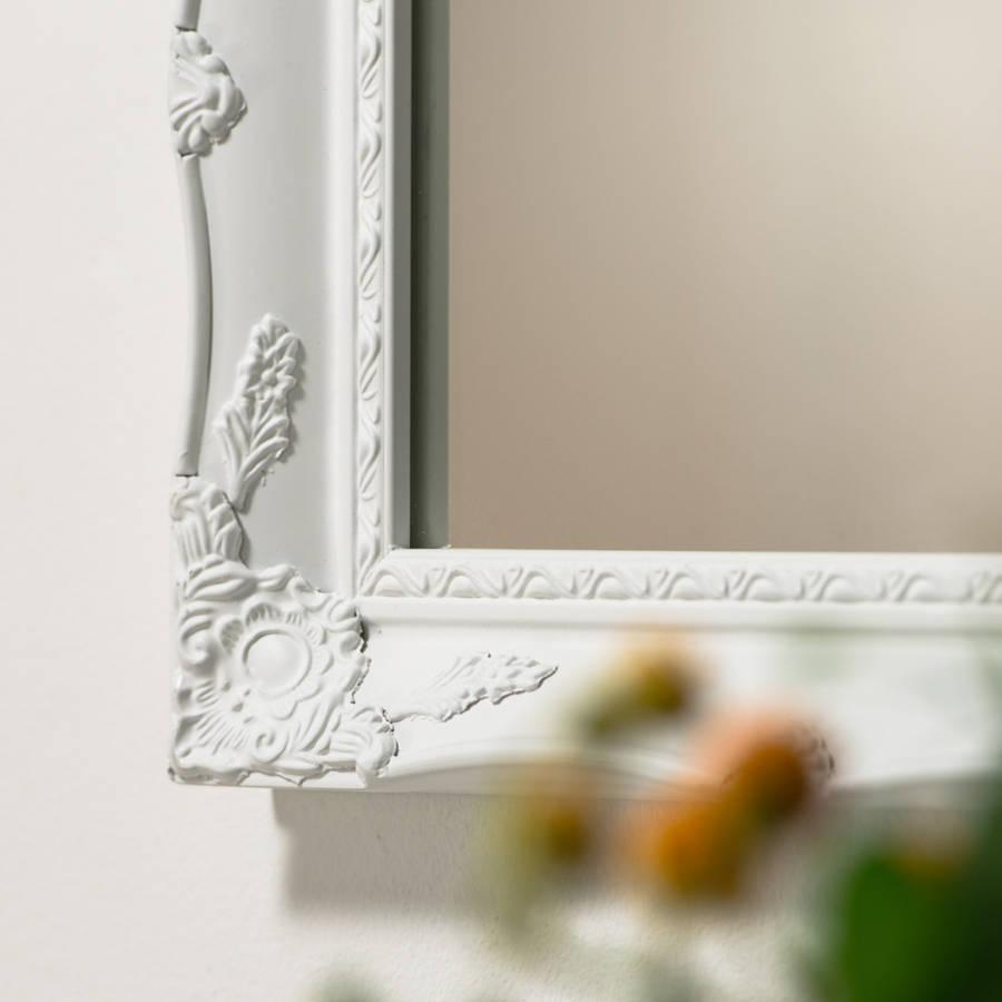 Vintage White Cream Hand Painted Mirrorhand Crafted Mirrors Within Cream Mirrors (Photo 13 of 20)