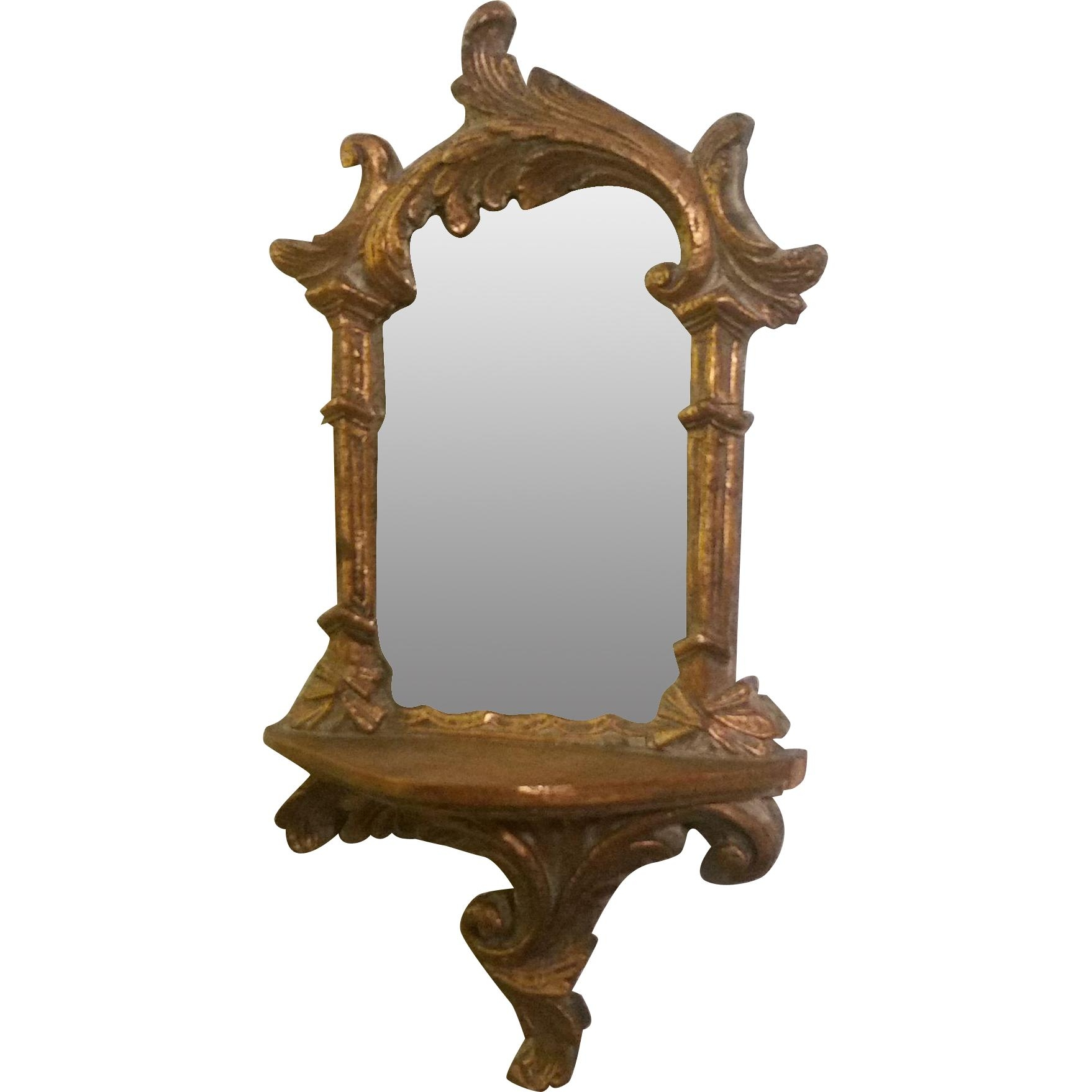 Vintage Wood Hand Carved Small Gilt Wall Mirror From Second Time Regarding Antique Wall Mirror (Photo 15 of 20)