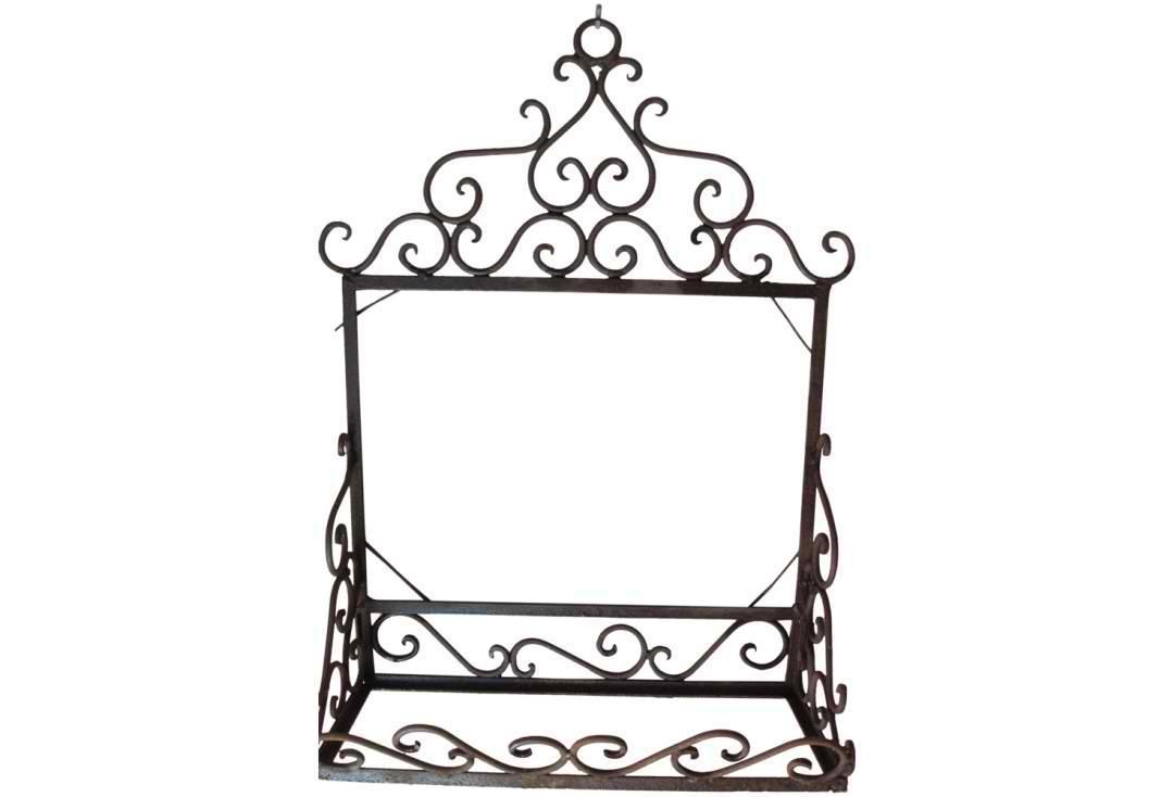 Vintage Wrought Iron Shelf & Mirror Back Unit | Omero Home Regarding Black Wrought Iron Mirrors (View 18 of 20)
