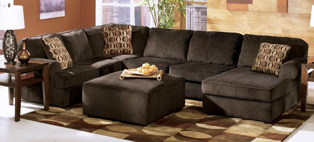Vista Chocolate Large Sectionalashley Furniture – Tenpenny Throughout Ashley Furniture Brown Corduroy Sectional Sofas (Image 20 of 20)