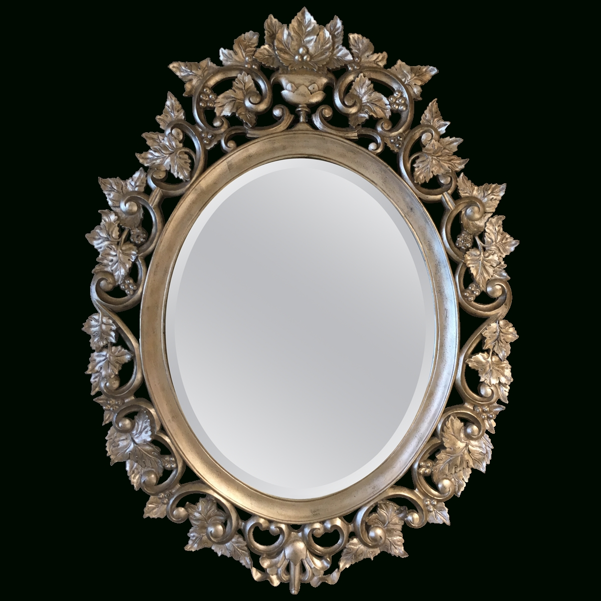 Viyet – Designer Furniture – Accessories – Maitland – Smith Carved Within Oval Silver Mirror (Image 19 of 20)