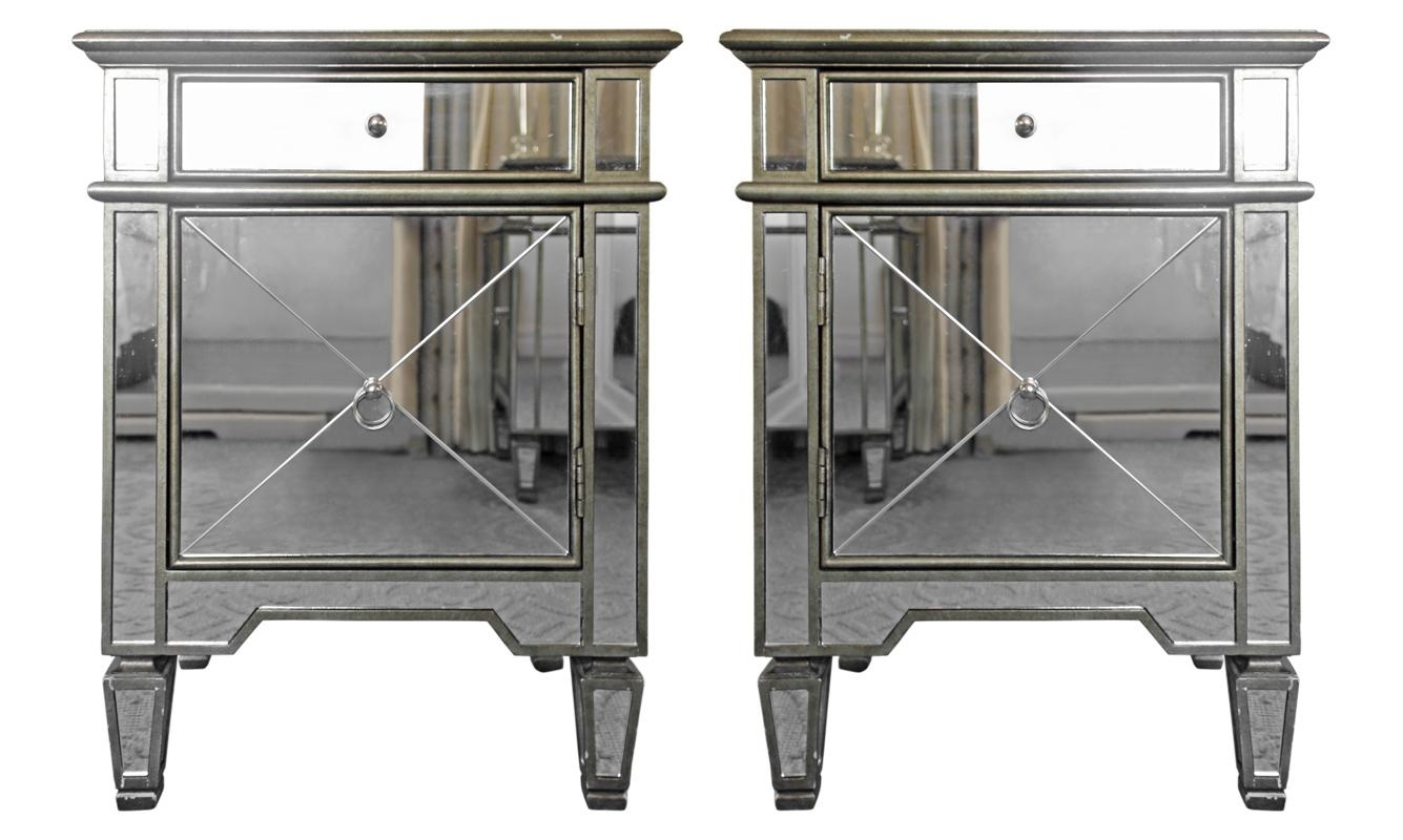 Viyet – Designer Furniture – Storage – Vintage Mirrored Nightstands Pertaining To Antique Mirrored Furniture (Image 20 of 20)