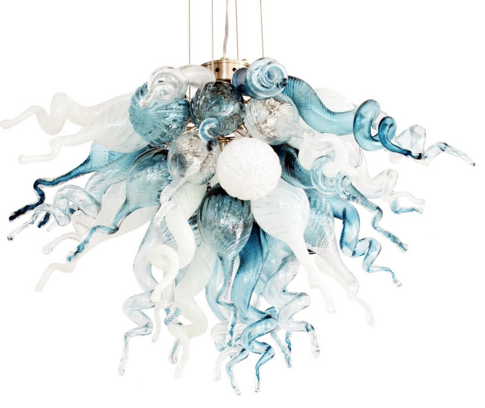 Viz Art Glass Cali Mini Chandelier For Turquoise Mini Chandeliers (Image 25 of 25)