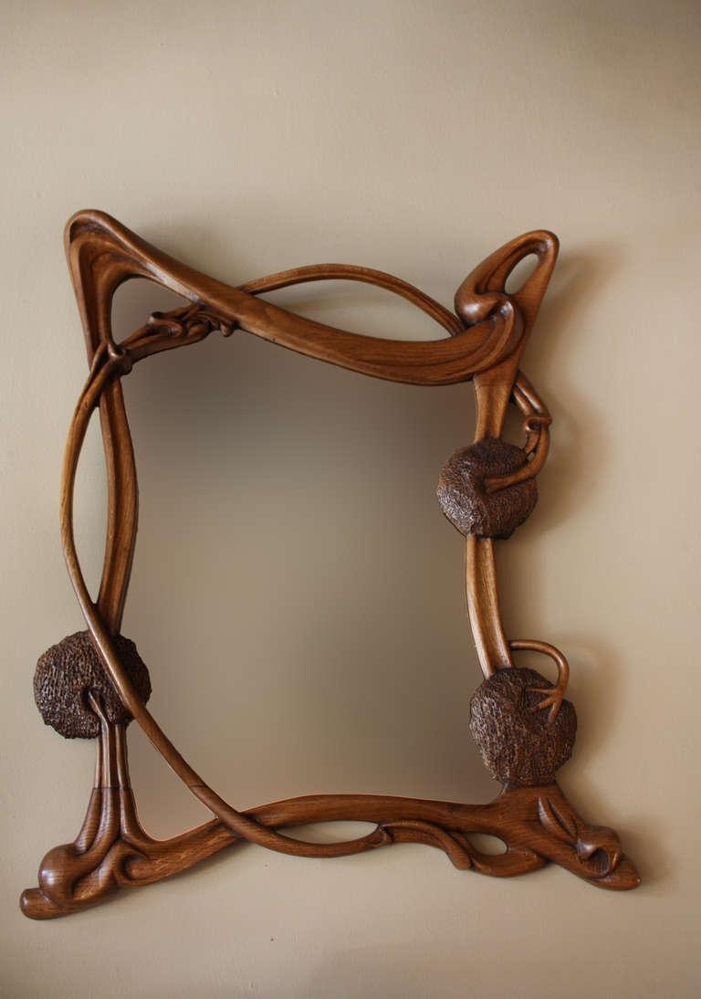 Wall Art Decor: Monumental Carved Art Nouveau Wall Mirror Standing Throughout Art Deco Wall Mirror (Image 19 of 20)