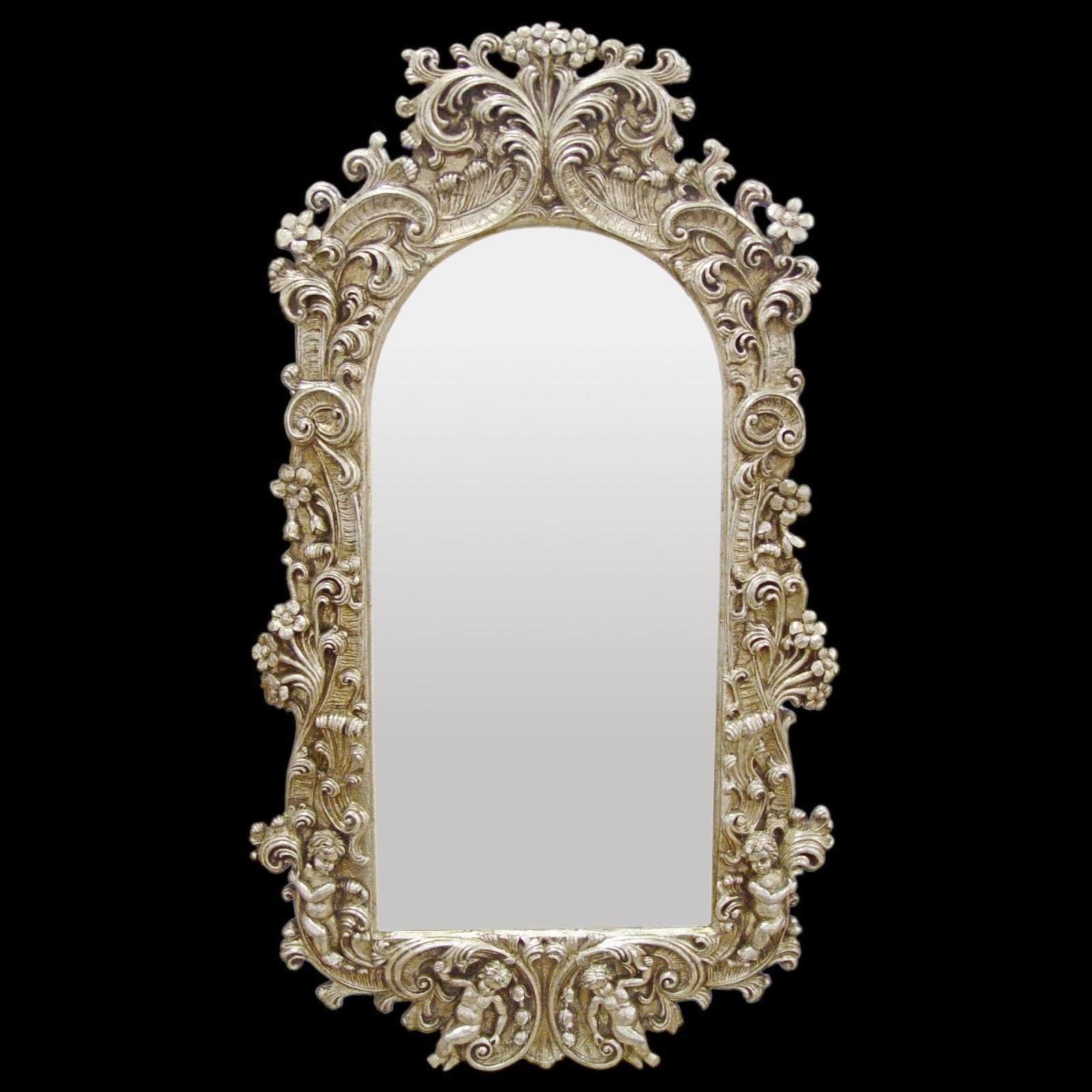 Wall Furniture Baroque Splendor Mirror Frame Baroque Silver Throughout Baroque Mirror Silver (Image 20 of 20)