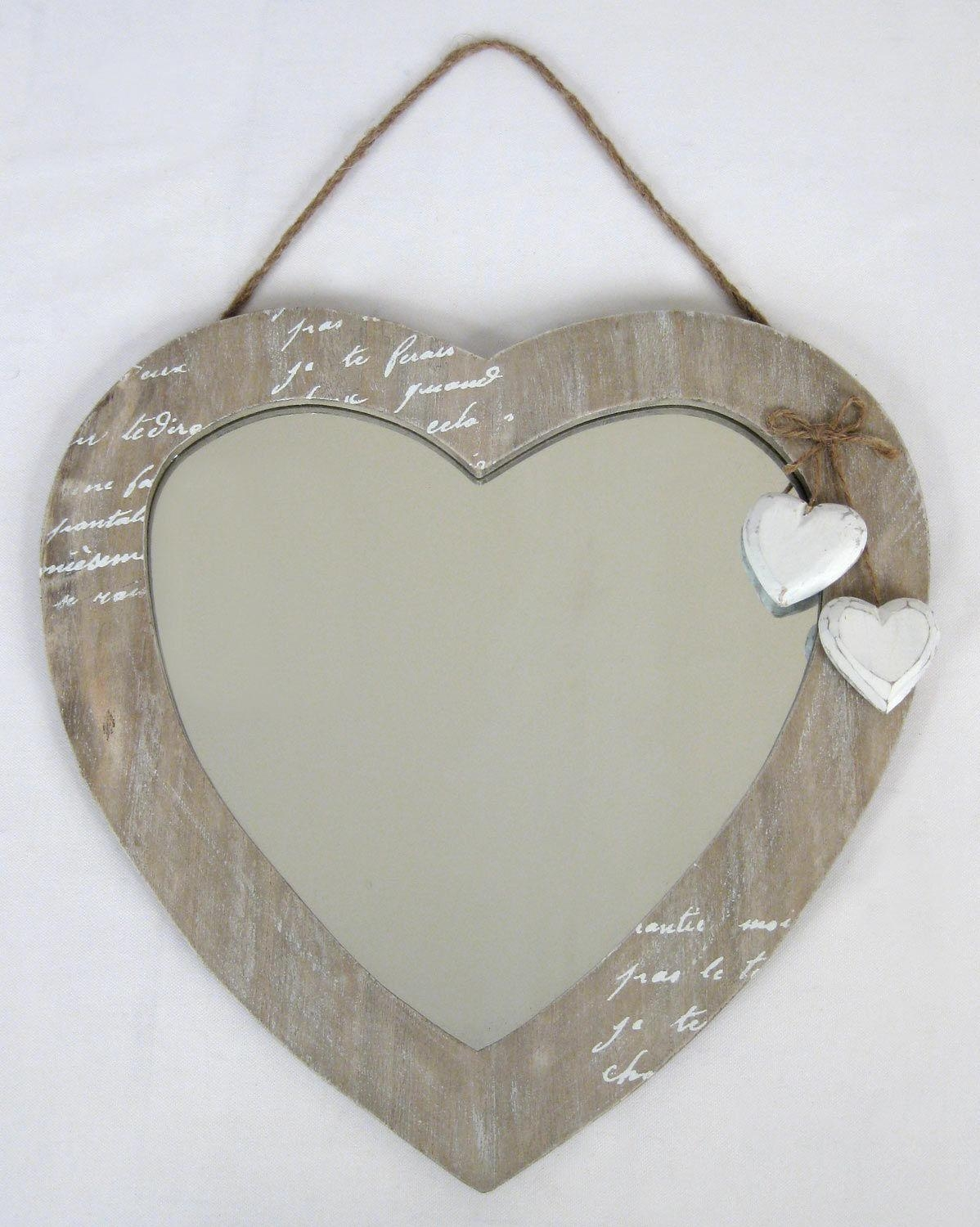Wall Hanging Mirror Love Heart Design Shabby Chic Wood Finish 30Cm Intended For Heart Shaped Mirror For Wall (Image 20 of 20)