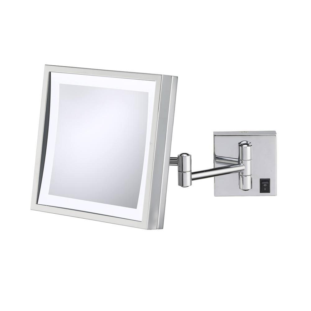 Wall Mounted Makeup Mirror – Square 3X In Wall Mirrors Pertaining To Chrome Wall Mirrors (Image 20 of 20)