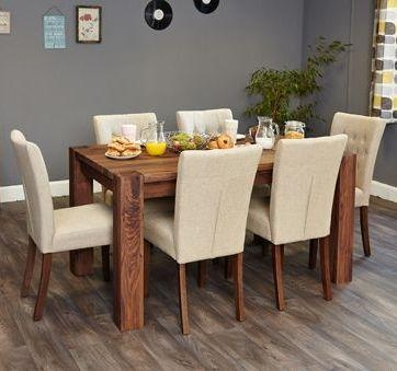 Walnut Dining Table & Chair Set (6 Seater) Slate Fabric • Akd With Walnut Dining Table And 6 Chairs (Image 19 of 20)