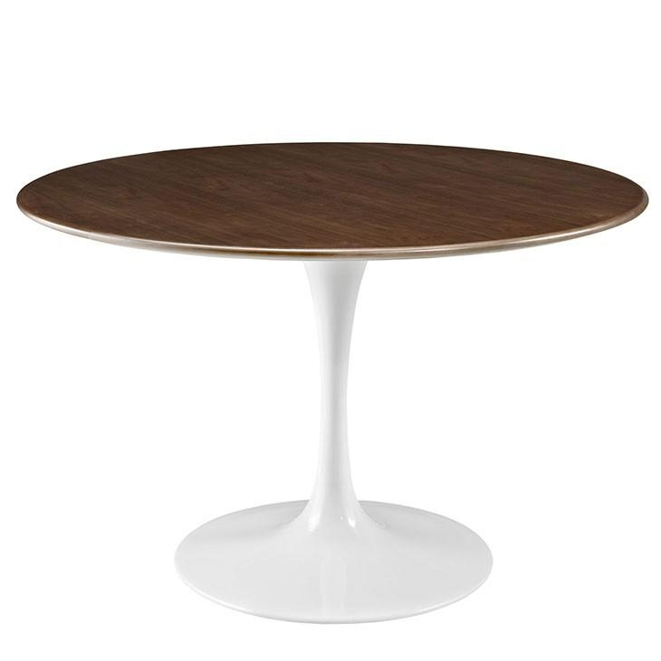 Walnut Modern Round Dining Table With Regard To Nora Dining Tables (View 7 of 20)