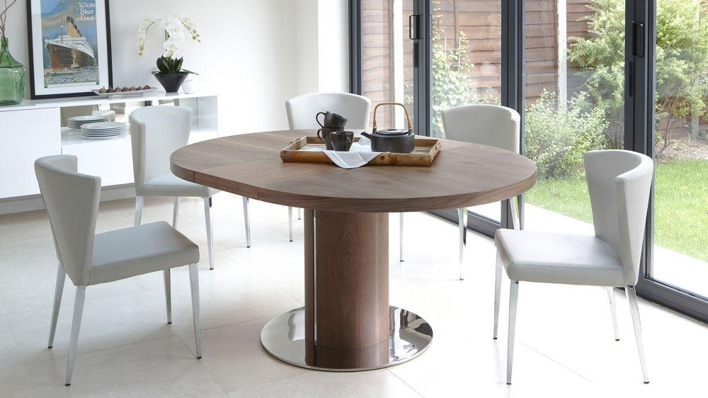 Walnut Round Dining Table And Chairs Within Circular Extending Dining Tables And Chairs (Image 20 of 20)