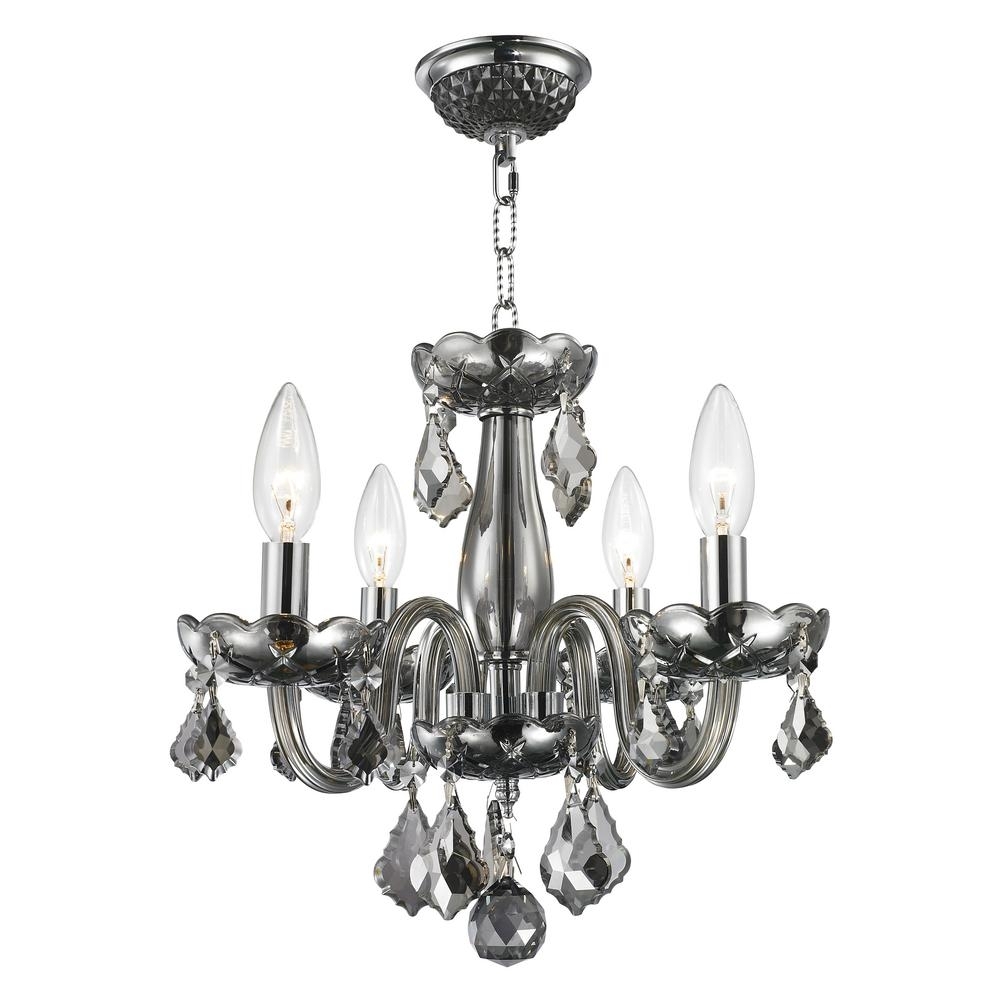Warehouse Of Tiffany Angelina 4 Light Chrome Crystal Chandelier For 4 Light Chrome Crystal Chandeliers (View 24 of 25)