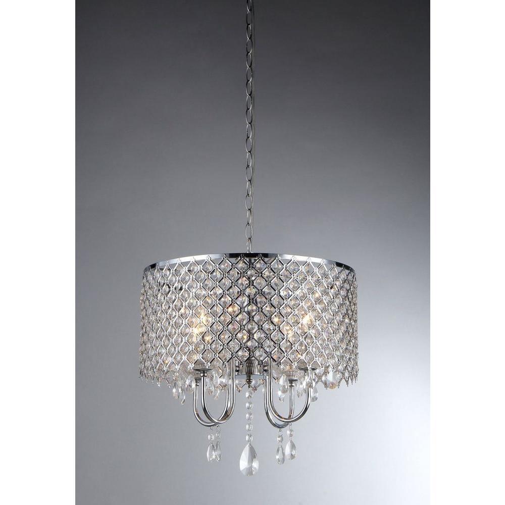 Warehouse Of Tiffany Angelina 4 Light Chrome Crystal Chandelier Inside 4light Chandeliers Image
