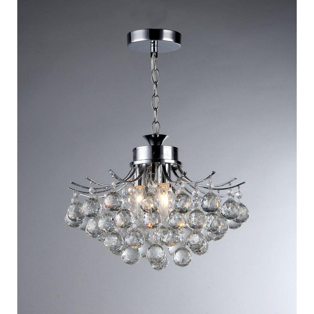 Warehouse Of Tiffany Boadicea 3 Light Crystal Chrome Chandelier Throughout 3 Light Crystal Chandeliers (Image 22 of 25)