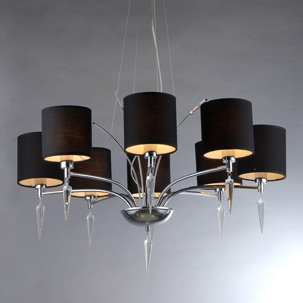 Warehouse Of Tiffany Branch 8 Light Chrome Chandelier With Black Throughout Chandeliers With Black Shades (Image 25 of 25)