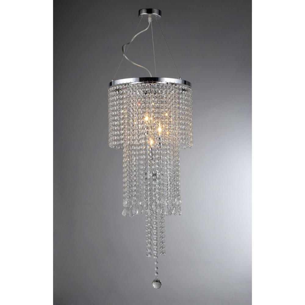 Warehouse Of Tiffany Donnabelle 4 Light Chrome Crystal Chandelier Within 4light Chrome Crystal Chandeliers (Image 19 of 25)