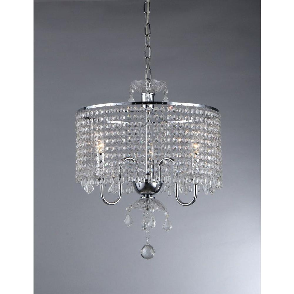 Warehouse Of Tiffany Elija 3 Light Chrome Crystal Chandelier With With Regard To Crystal Chrome Chandeliers (Image 23 of 25)