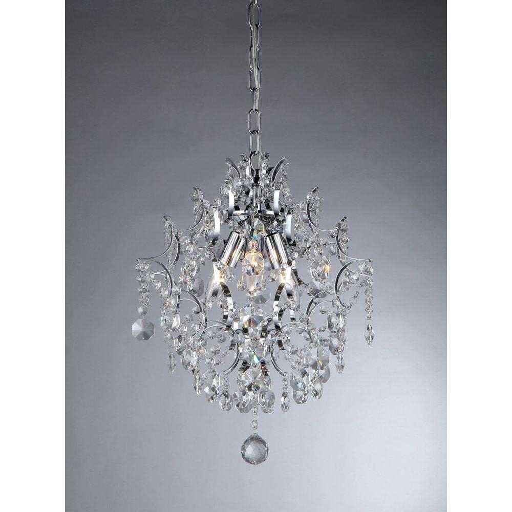 Warehouse Of Tiffany Ellaisse 3 Light Chrome Crystal Chandelier Intended For 3 Light Crystal Chandeliers (Image 24 of 25)