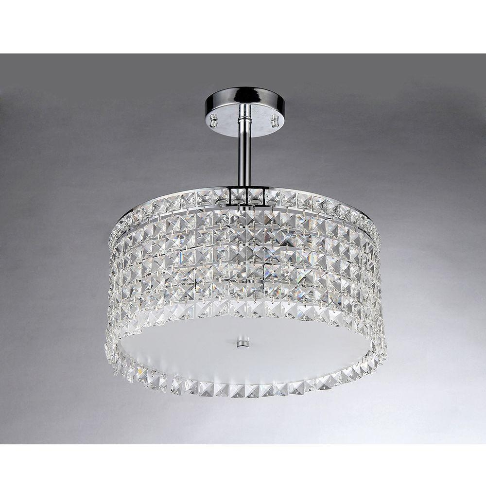 Warehouse Of Tiffany Garcia Crystal 4 Light Chrome Chandelier With Regarding 4 Light Crystal Chandeliers (Image 21 of 25)