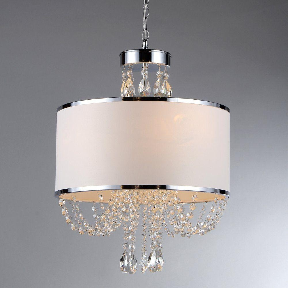 Warehouse Of Tiffany Hera 4 Light Chrome Chandelier With Fabric For 4 Light Crystal Chandeliers (Image 22 of 25)