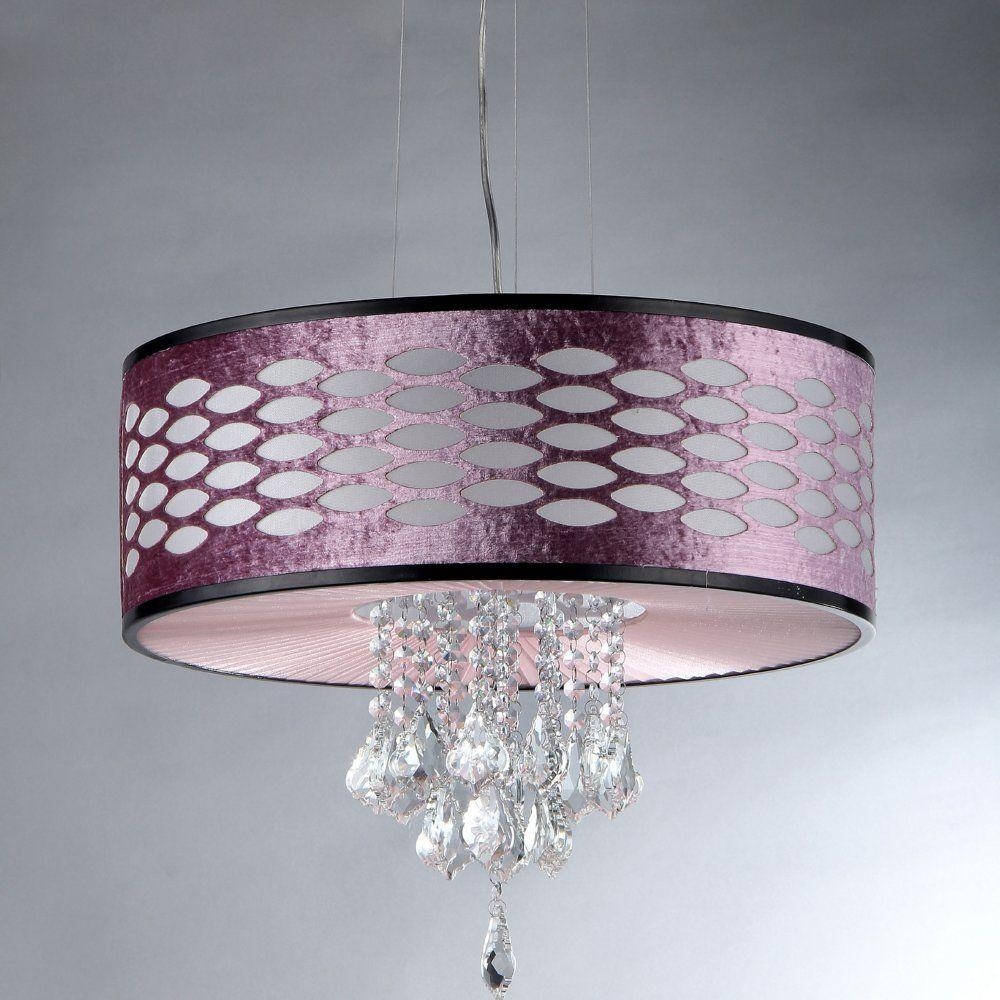 Warehouse Of Tiffany Pattern Crystal 5 Light Chrome Chandelier Pertaining To Purple Crystal Chandelier Lights (Image 25 of 25)