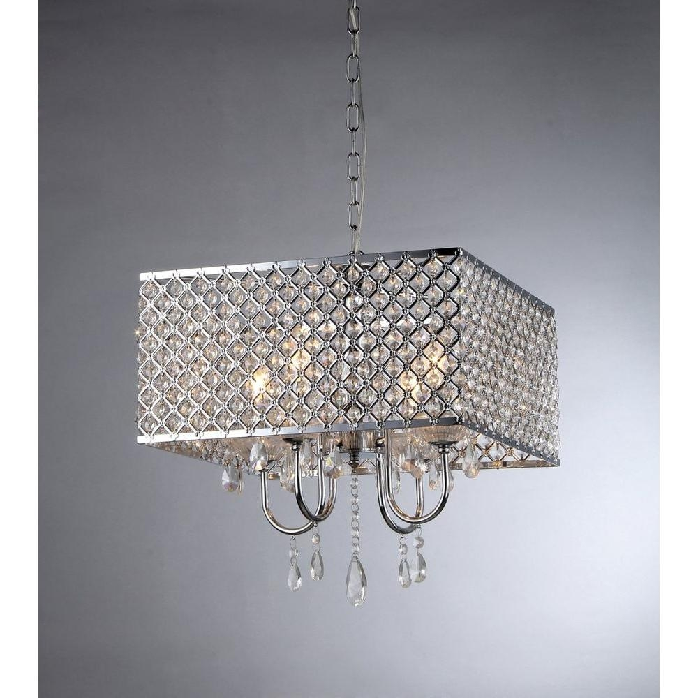 Warehouse Of Tiffany Zarah 4 Light Chrome Crystal Chandelier With Throughout 4 Light Chrome Crystal Chandeliers (Image 23 of 25)