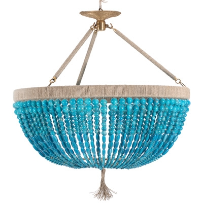 We Could Spray Pain Mardi Gras Beads And Create A Cheap Rep D Throughout Turquoise Blue Beaded Chandeliers (Image 25 of 25)