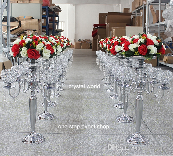 Wedding Decoration 5 Arm Crystal Candelabra Centerpiece Wedding Throughout Faux Crystal Chandelier Centerpieces (Image 23 of 25)
