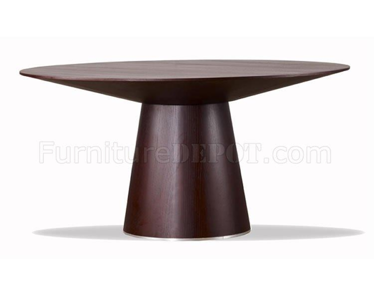Wenge Finish Contemporary Round Dining Table W/tapering Base For Contemporary Base Dining Tables (Image 19 of 20)