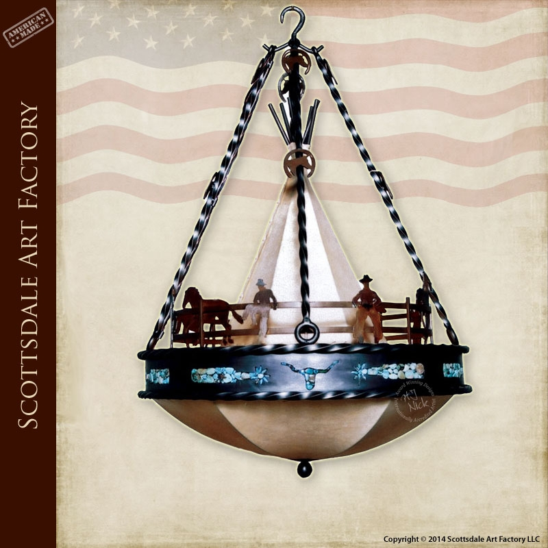 Western Chandeliers Custom Lighting American West Theme Regarding Turquoise Stone Chandelier Lighting (Image 25 of 25)