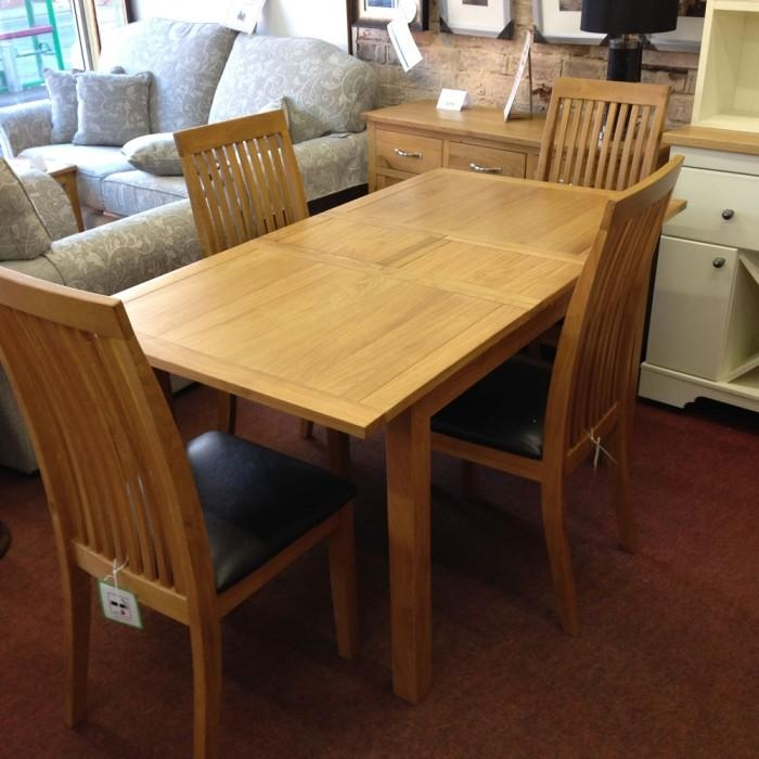 Wharfdale Extending Oak Dining Table With 4 Chairs – Flintshire Regarding Oak Dining Tables And 4 Chairs (View 9 of 20)