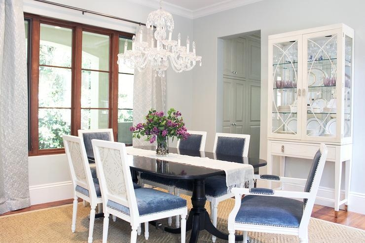 White And Blue Dining Chairs With Acai Dining Table – Transitional In Blue Dining Tables (Image 19 of 20)