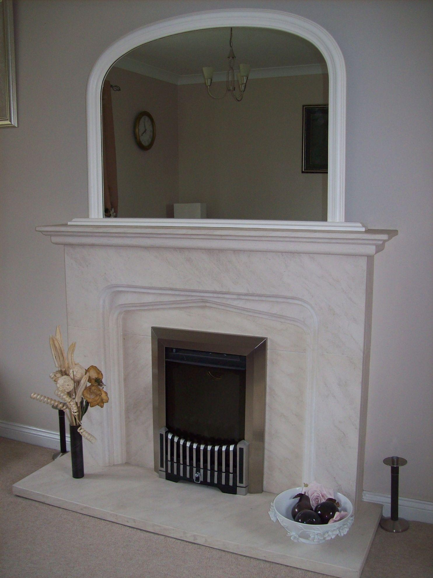 White Arched Overmantle Mirror With White Overmantle Mirror (Image 17 of 20)