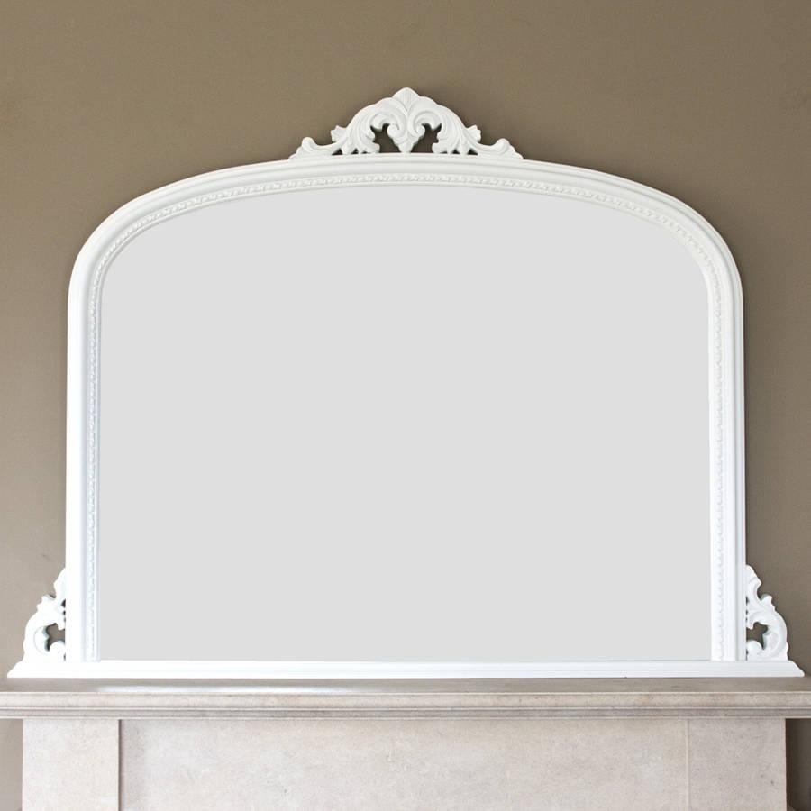 White Beaded Edge Overmantel Fireplace Mirrordecorative Pertaining To White Overmantle Mirror (Image 18 of 20)