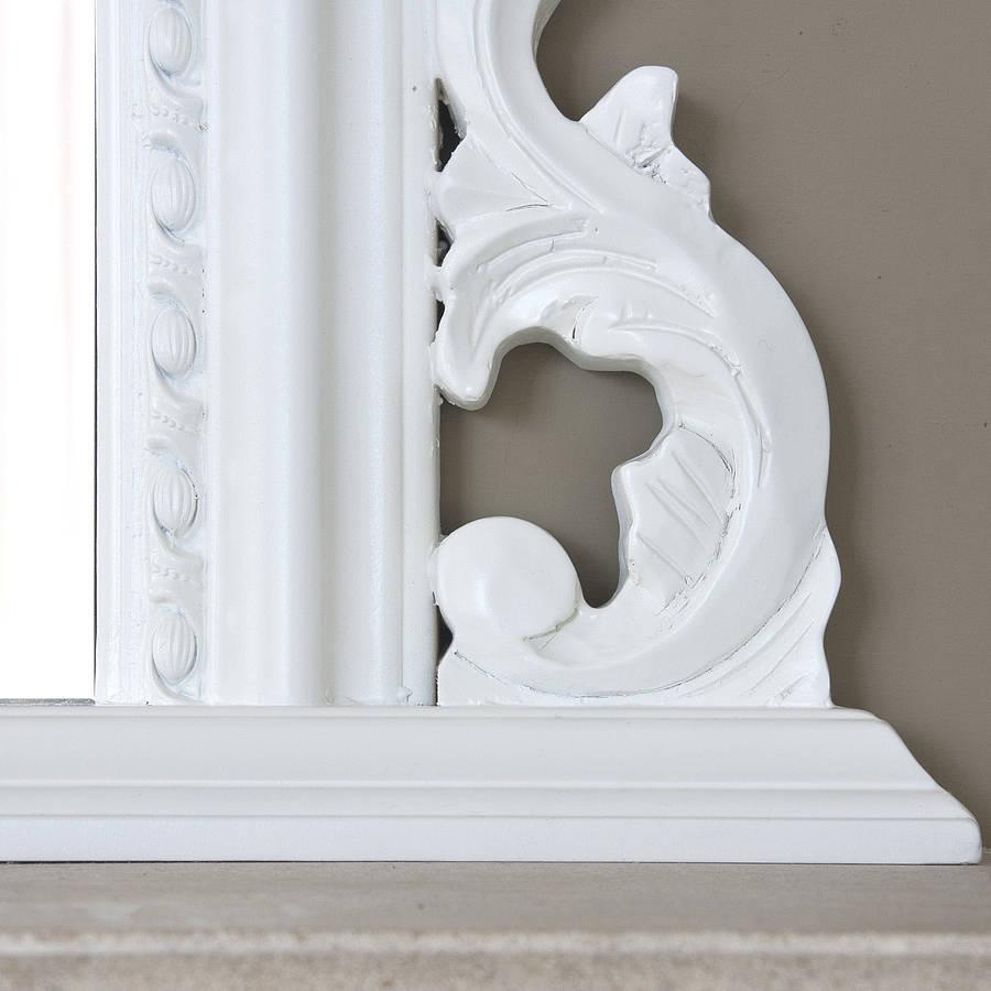 White Beaded Edge Overmantel Fireplace Mirrordecorative With Regard To White Overmantle Mirror (Image 19 of 20)