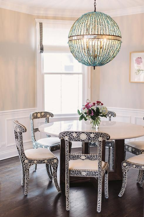 White Beaded Orb Chandelier Design Ideas Regarding Turquoise Orb Chandeliers (View 7 of 25)