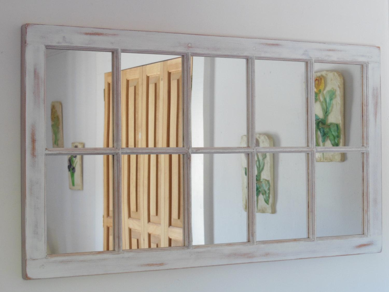 White Distressed Framed Mirror Window Mirror Window Pane Inside Shabby Chic White Mirrors (Image 19 of 20)