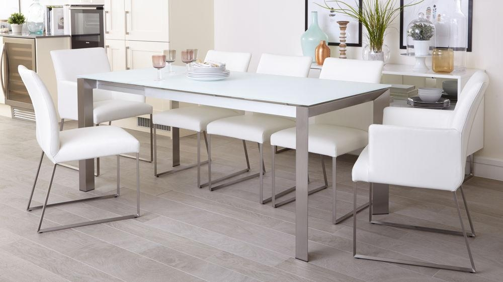 White Frosted Glass Extending Dining Table | Uk Delivery Pertaining To Glass Extending Dining Tables (View 20 of 20)