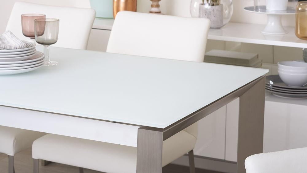 White Frosted Glass Extending Dining Table | Uk Delivery Within Glass Extending Dining Tables (Image 20 of 20)