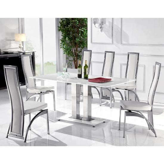White Glass Dining Table And 6 Chairs #7047 Within White Dining Tables With 6 Chairs (View 13 of 20)