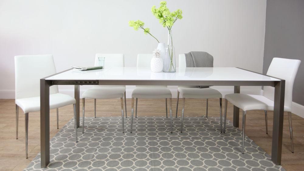 White High Gloss Extending Dining Table | Brushed Metal Legs | Inside Brushed Metal Dining Tables (View 1 of 20)