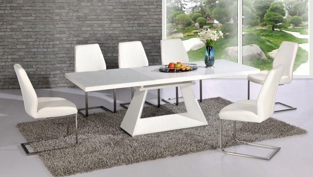 White High Gloss Glass Dining Table And 8 Chairs Extending Within White Extending Dining Tables (Image 20 of 20)