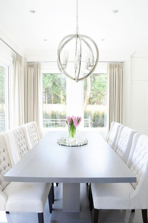 White Lacquered Dining Table With White Wingback Dining Chairs Intended For Cream Lacquer Dining Tables (Image 19 of 20)