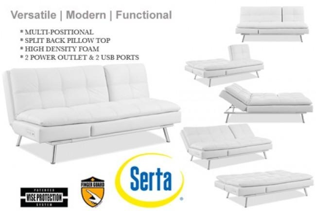 White Leather Futon Sofa Bed | Palermo Serta Euro Lounger | The With Regard To Euro Lounger Sofa Beds (Image 20 of 20)