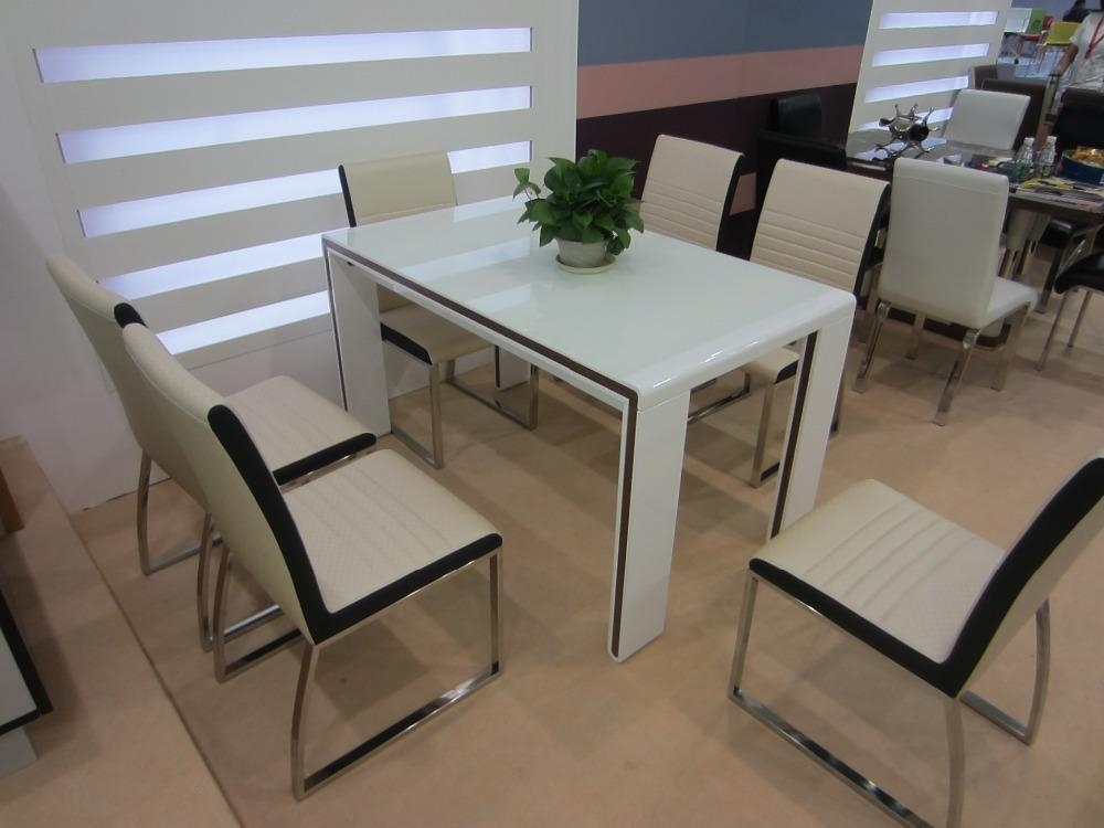 White Melamine Dining Table, Wooden Dining Table With Glass Top Throughout White Melamine Dining Tables (View 3 of 20)