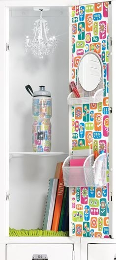White Mesh Magnetic Vanity Bin Locker Chandelier Girl Closet In Turquoise Locker Chandeliers (Image 25 of 25)