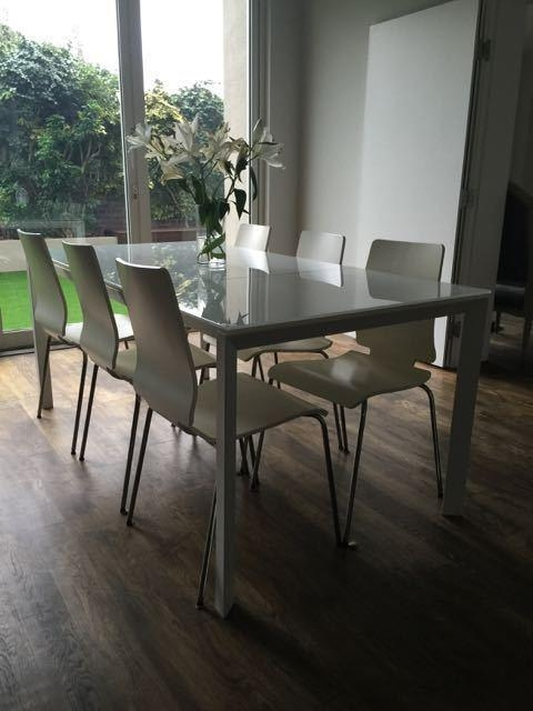 White Modern Habitat (Rio) Extendable Dining Table And 6 Chairs In Rio Dining Tables (View 9 of 20)