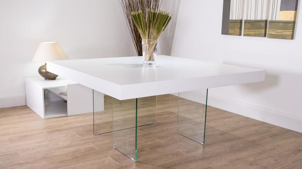 White Oak Square Dining Table | Glass Legs | Seats 6 – 8 For Dining Tables With White Legs (Image 19 of 20)