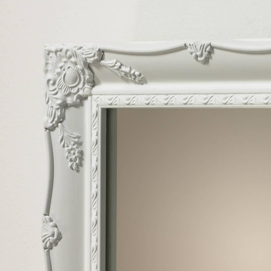 White Ornate French Mirrorhand Crafted Mirrors Regarding White French Mirror (View 7 of 20)