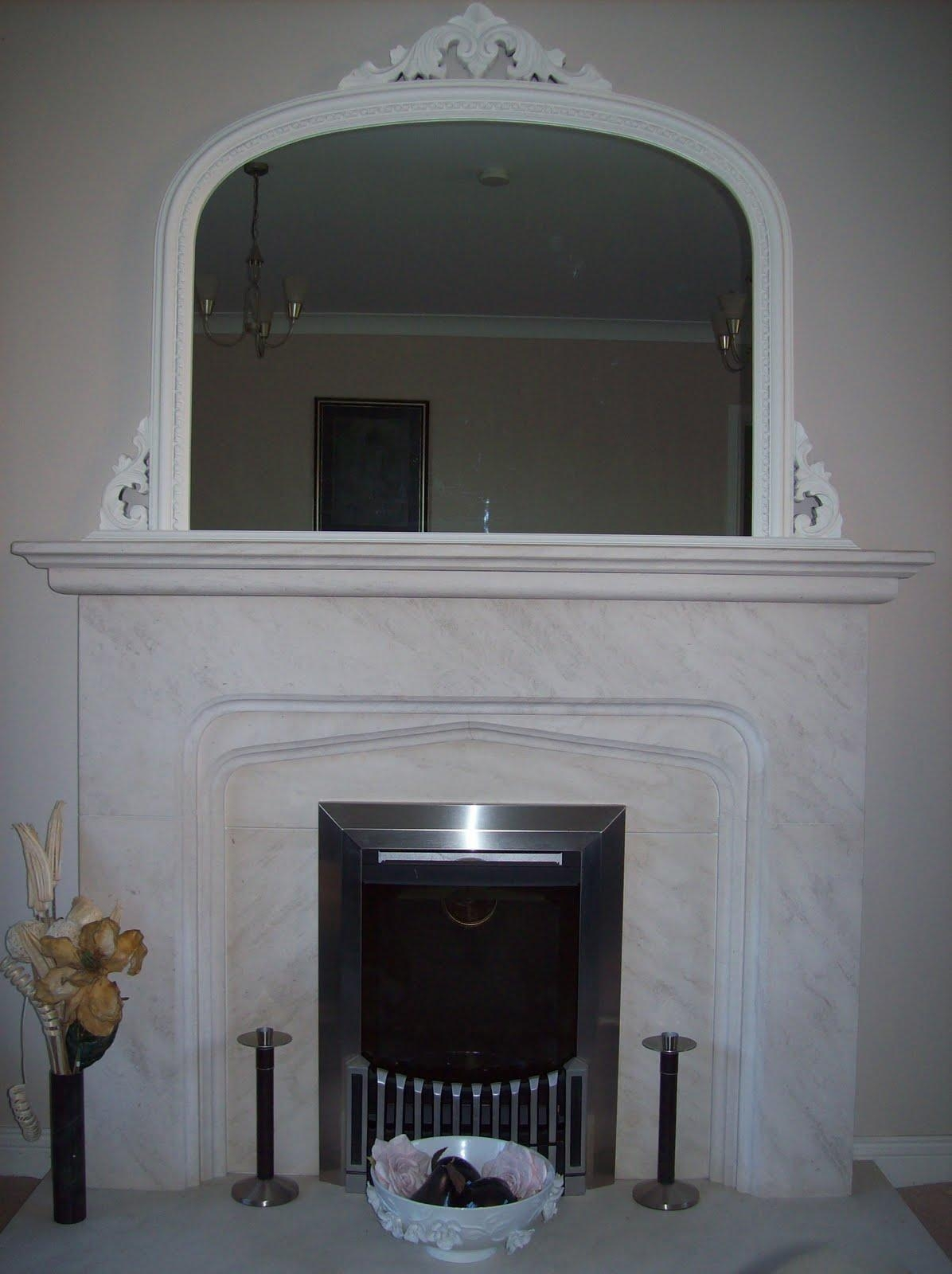 White Ornate Overmantle Mirror With White Overmantle Mirror (Image 20 of 20)